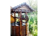 домик для колодцев оголовок. Искусственное старение древесины. Колодезный домик из бруска 70 40