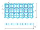 Гибкое бетонное покрытие ГБП № 1 L:B:H): 2250:1350:60 ГБП № 2 (L:B:H): 2250:1350:150 ГБП № 3 (L:B:H): 2250:1350:240