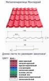 Металлочерепица Монтеррей в размер! Ширина листа: 1180 мм. (общая); 1100 мм. (рабочая). Производство в Кемерово.